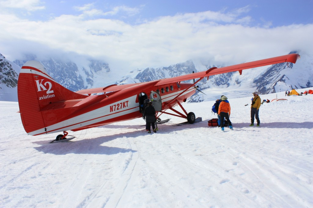 Preparing to unload gear from the plane at Kahiltna Base Camp.