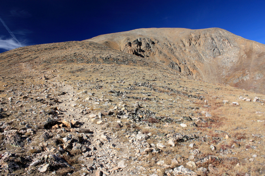 Rocks on the upper part of Mount Elbert consist of Early Proterozoic-age quartz-, feldspar- and mica-bearing gneiss, and amphibolite. The sparse vegetation growing on the weathered surface of these rocks is characteristic of high alpine tundra. Pleistocene glacial erosion oversteepened the slopes at the head of the Box Creek drainage, forming a cirque headwall on the mountain's northeastern side.
