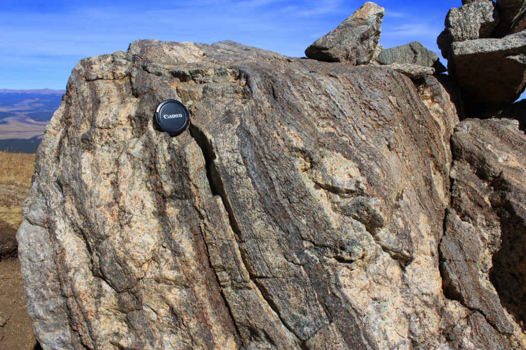 The rocks on the upper slopes of Mount Elbert are not well exposed, so this boulder of gneiss, at about 12,500 feet (3,800 m) along the South Mount Elbert Trail, provides a good example of what the Early Proterozoic-age bedrock looks like. Strongly directed compressional tectonic stress during mountain-building events produced the light and dark banding—the metamorphic foliation characteristic of gneiss.