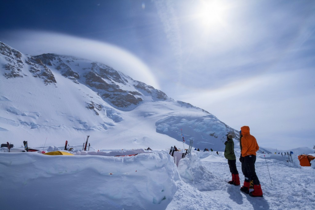At Advanced Base Camp, keeping an eye on the summit cloud cap (photo by Susanna Girolamo).