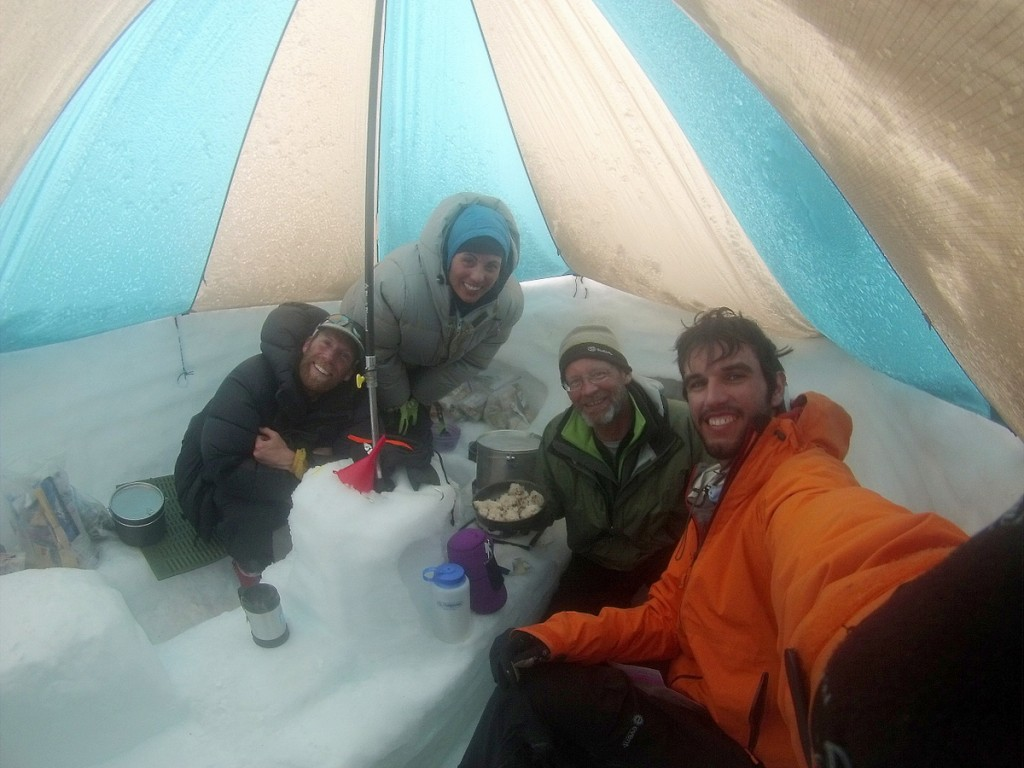 Passing time in the cook tent—the Highpoint Geology 2014 Expedition team (L to R): Joshua Phillips, Susanna Girolamo, Mike Hylland, Alex Leone.