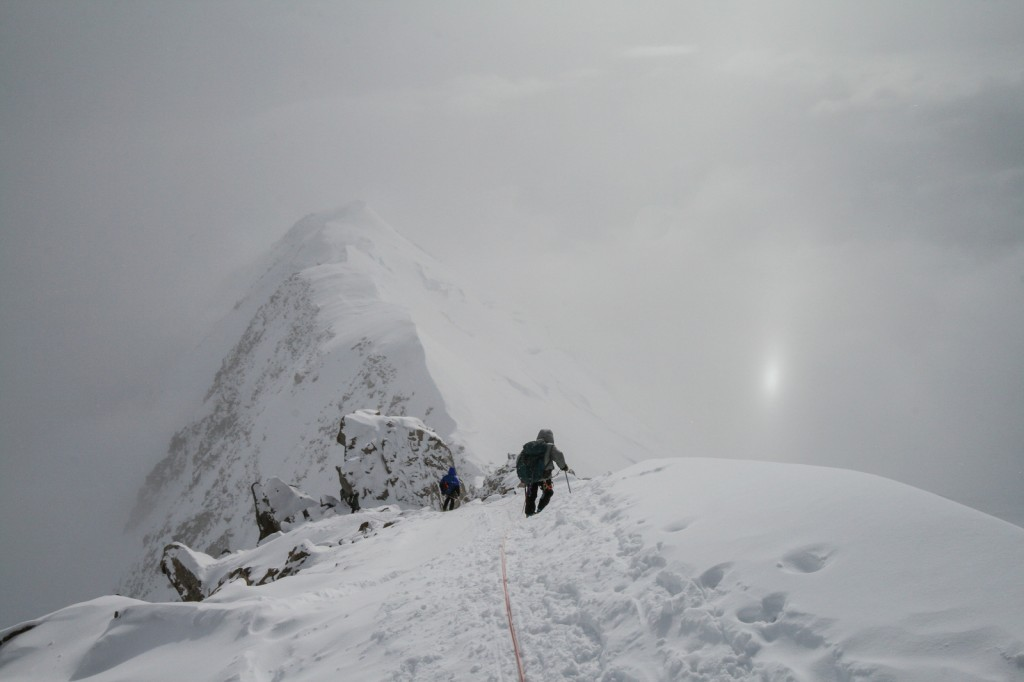 Descending the ridge near Washburns Thumb after caching food and fuel at High Camp (photo by Joshua Phillips).
