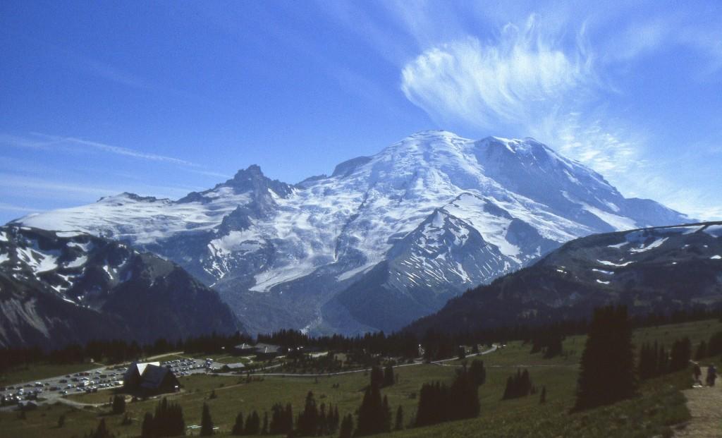 "The glaciated volcanic cone of Mount Rainier looms to the west of the tree-line meadows of Sunrise Park. The Emmons Glacier, the largest glacier in the U.S. outside of Alaska, flows from Rainier's summit and along the left (south) side of the inverted ""V"" of Steamboat Prow. Little Tahoma (11,117 feet; 3,390 m) is the prominent rocky crag on the left skyline."